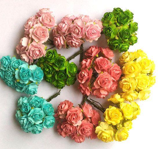 100 mixed colors mulberry roses paper flowers mini 06 inch 18mm 100 mixed colors mulberry roses paper flowers mini 06 inch 18mm bulk price embellishment scrapbooking bulk price mix 3 mightylinksfo