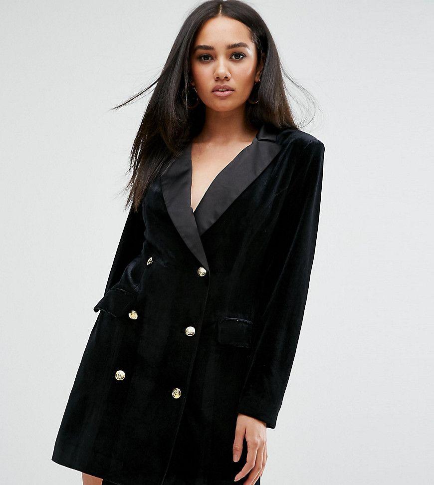 Missguided - Blazer-Kleid aus Samt mit Knopf-Detail - Schwarz Jetzt ...