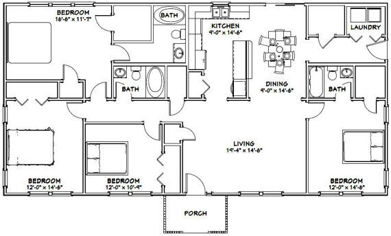 This is a PDF Plan available for Instant Download. 60x30 House 4 bedroom, 3  bath home with a… | Metal house plans, Pole barn house plans, Barndominium  floor plans
