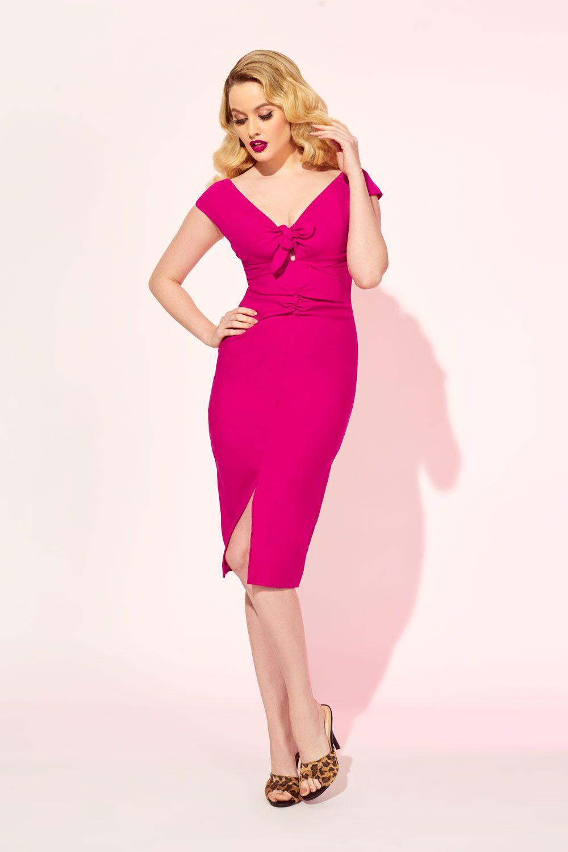 Dixiefried niagara dress in hot pink bengaline wiggle dress pinup