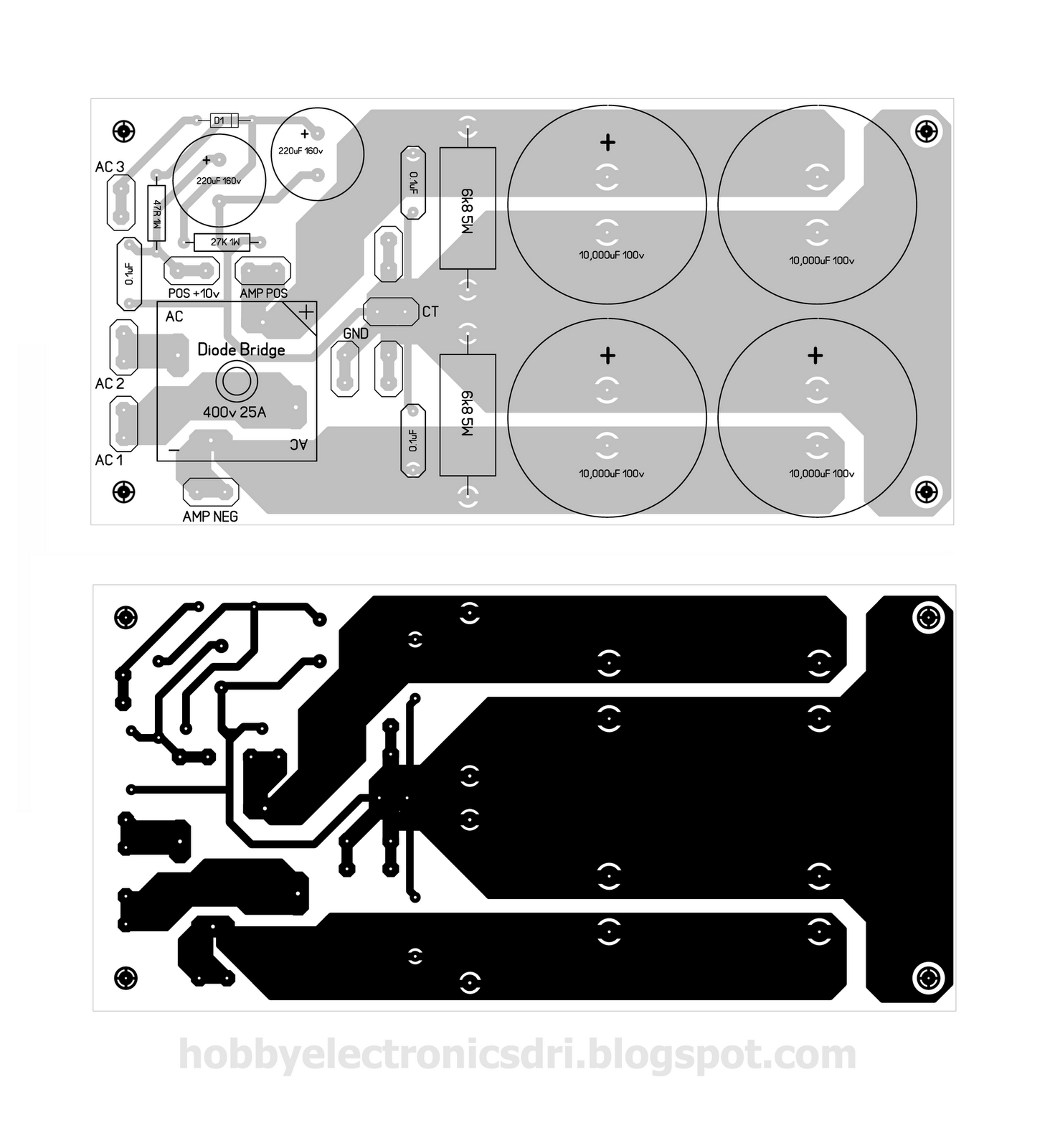 layout pcb psu power ampli