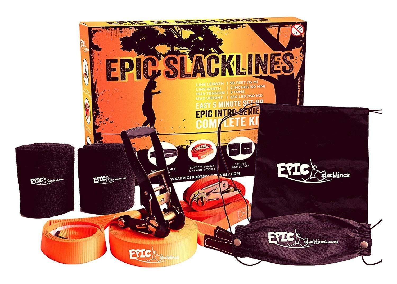 Epic slackline set complete slackline kit size 50 ft x