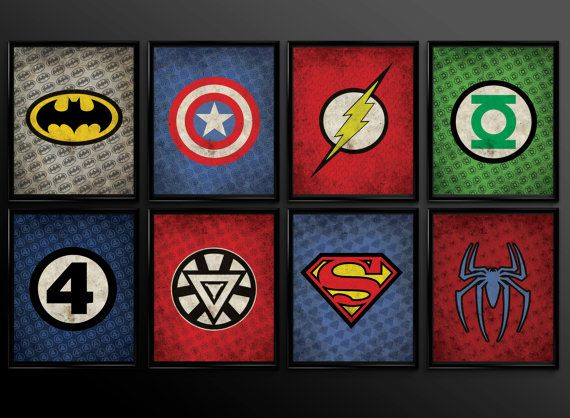 Captivating Set Of 8 Superhero Wall Art Decor Superman By TheCuttingEdgeShop