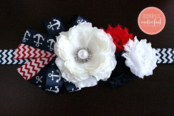 Nautical Maternity Baby Shower Sash Belt With Anchors In Red White