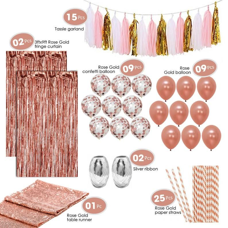 Artunique 63pc Rose Gold Party Decorations Kit | Rose Gold Latex and Confetti Balloons|Table Runner| Fringe Curtain| Straws | Tassle Garland