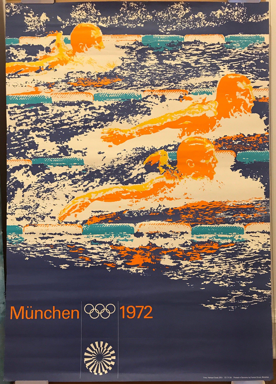 Swimming Munich Olympics 1972 Vintage Sports Poster Etsy In 2021 Sport Poster Vintage Sports Vintage Posters