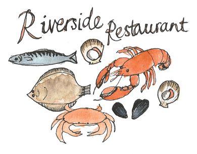 Bridport Local Food Map / West Bay Riverside Restaurant / seafood food illustration / Dorset CLS / Delphine Jones / www.delphinejones.com
