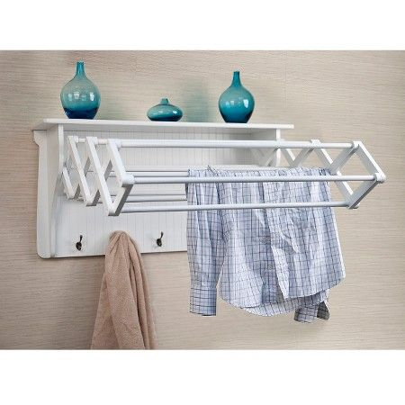 Clothes Drying Rack Target Wall Shelf With Collapsible Drying Rack And Hooks White  Shelves