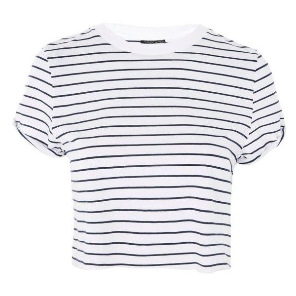 a7f11806a54 Women's Topshop Roll Cuff Stripe Tee (71 PEN) ❤ liked on Polyvore featuring  tops