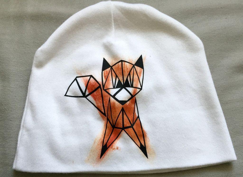 Painted geometric fox beanie