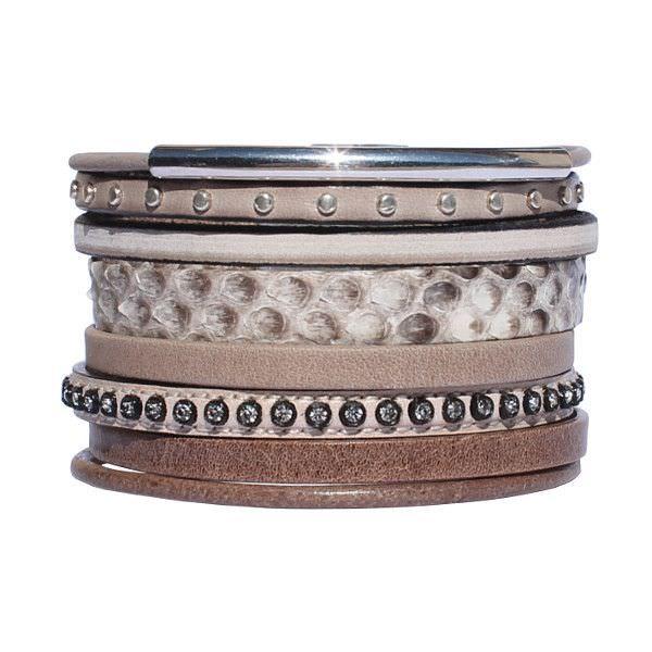 Bracelet cuir femme manchette taupe strass Savane