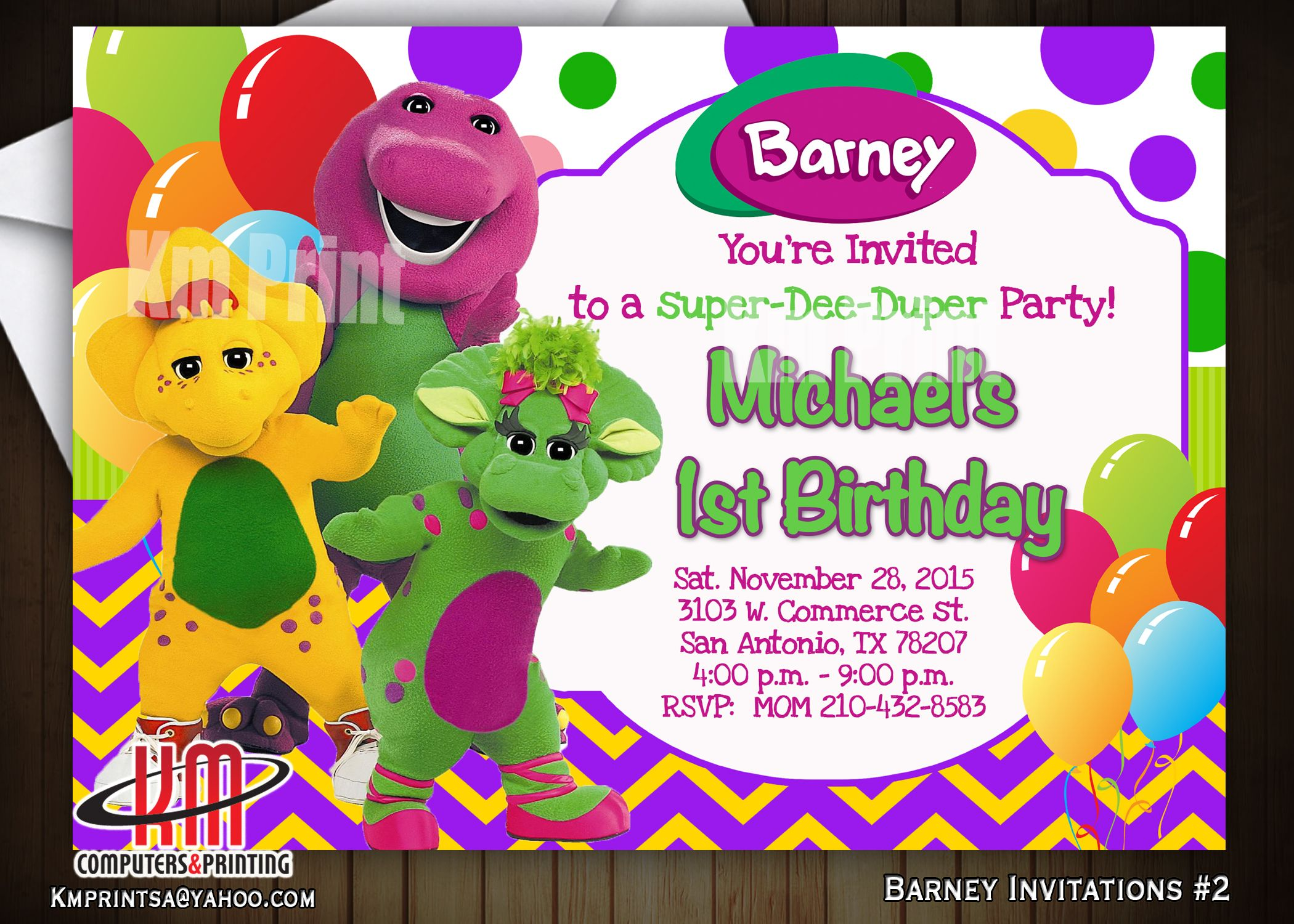 Barney birthday invitation2 digital 10 u print kmprint210 barney birthday invitation2 digital 10 u print kmprint210gmail monicamarmolfo Images