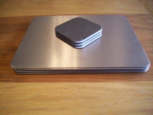 Contemporary Stainless Steel Set Of 6 Placemats And Coasters From Avonstar Trading Co Ltd Black Friday Cyber Monday Placemats Stainless Steel Coasters