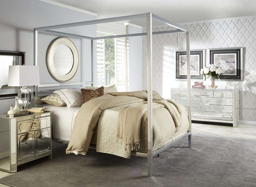 Chrome Poster Bed Bed, Black, white furniture, Beautiful