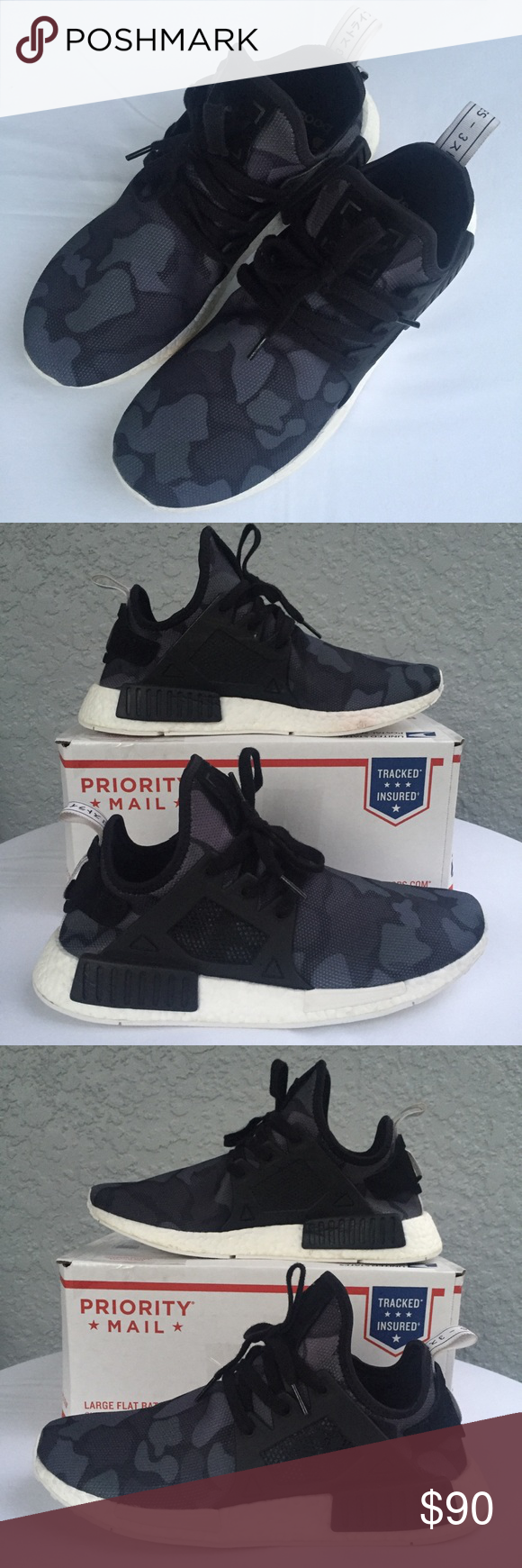 f823e9bcada89 Adidas NMD XR1 Duck Camo This XR1 takes the essential NMD runner to the next  level with in a trail-ready colorway. Duck camo pattern on the all-black ...