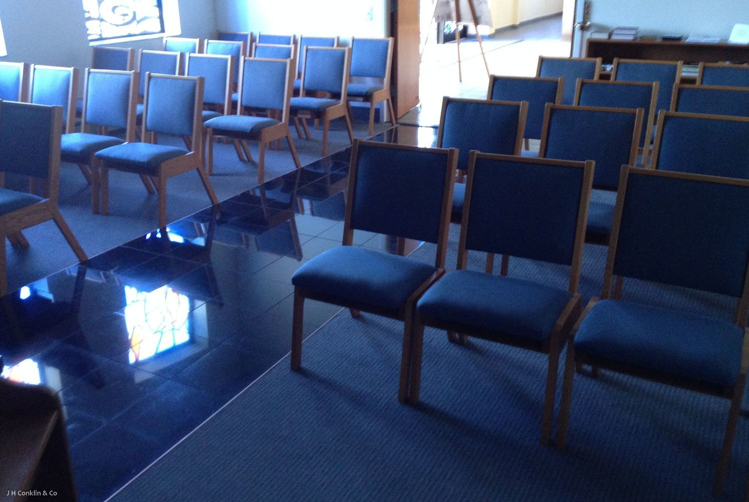 Church Chapel Seating Re-upholstered.  New foam, performance fabric.
