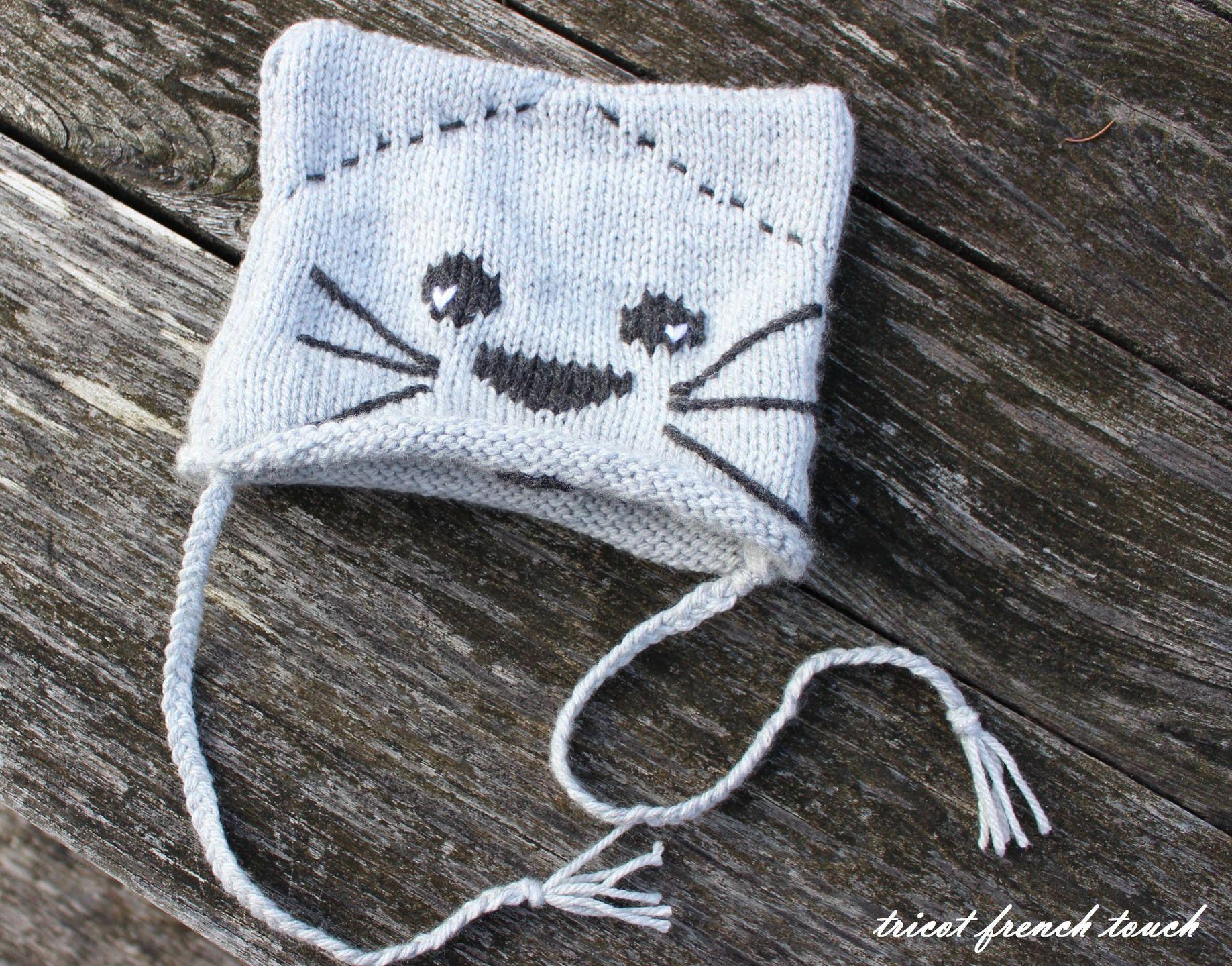 8d103d468075 Bonnet bébé. Bonnet enfant  Mon p tit chat  en laine spéciale  layette.Cadeau de naissance pour bébé fille ou garçon.Bonnet