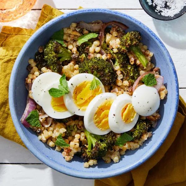 Roasted Broccoli & Fregola Sarda with Hard-Boiled Eggs & Tahini Dressing