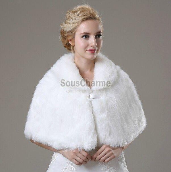 b28db844acb4 Boléro mariage pas cher en fausse fourrure ivoire duveteuse cape pour robe  de mariée avec col