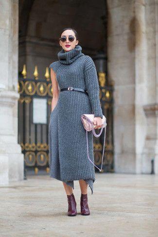 52f7c610c4e Opta por un vestido jersey de punto gris para una vestimenta cómoda que  queda muy bien junta. Botines burdeos levantan al instante cualquier look  simple.