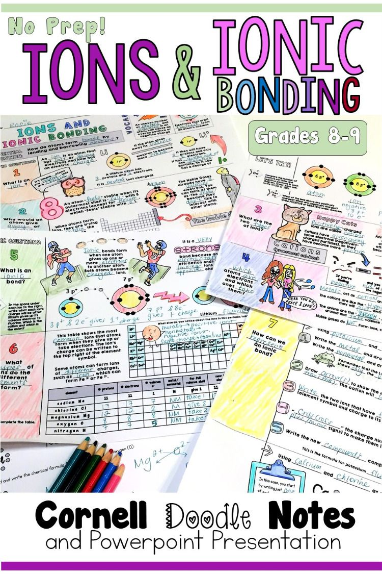 There Are Many Pictures And Analogies Mixed Into These Cornell Doodle Notes To Help Students To Understan Doodle Notes Ionic Bonding Science Teaching Resources