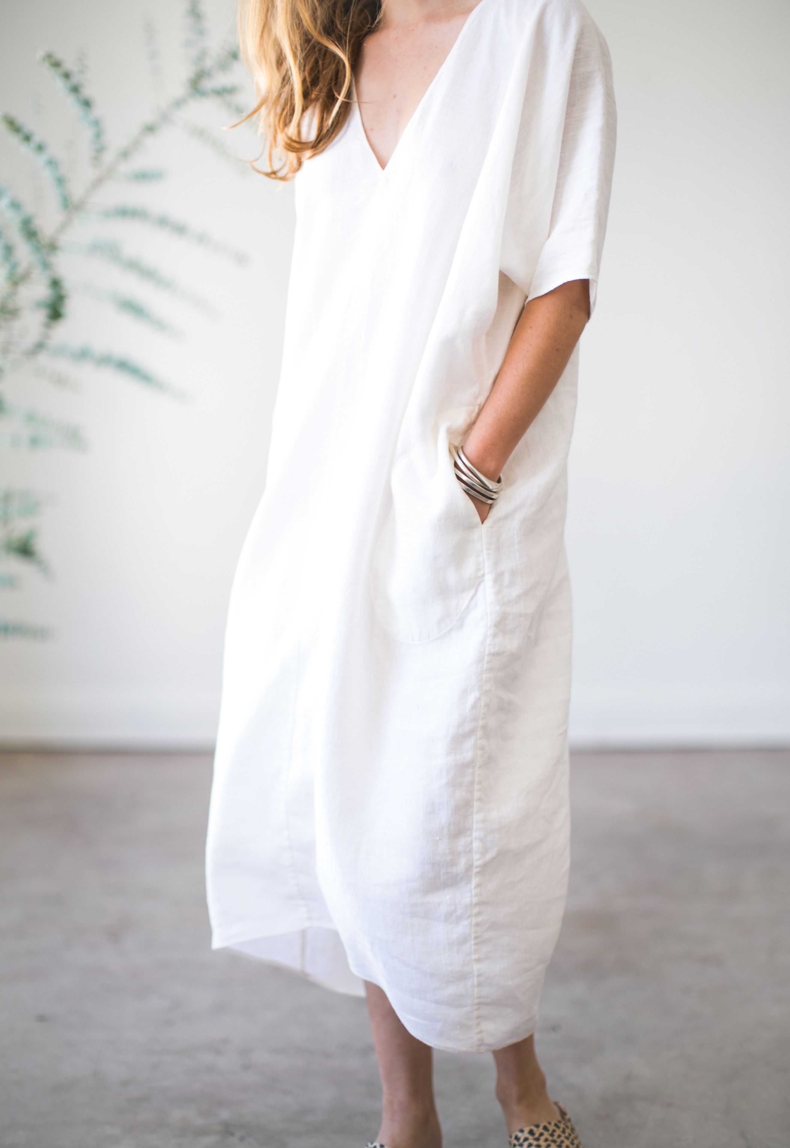1124960ee4 Long V-neck Caftan   Rachel Craven Textiles
