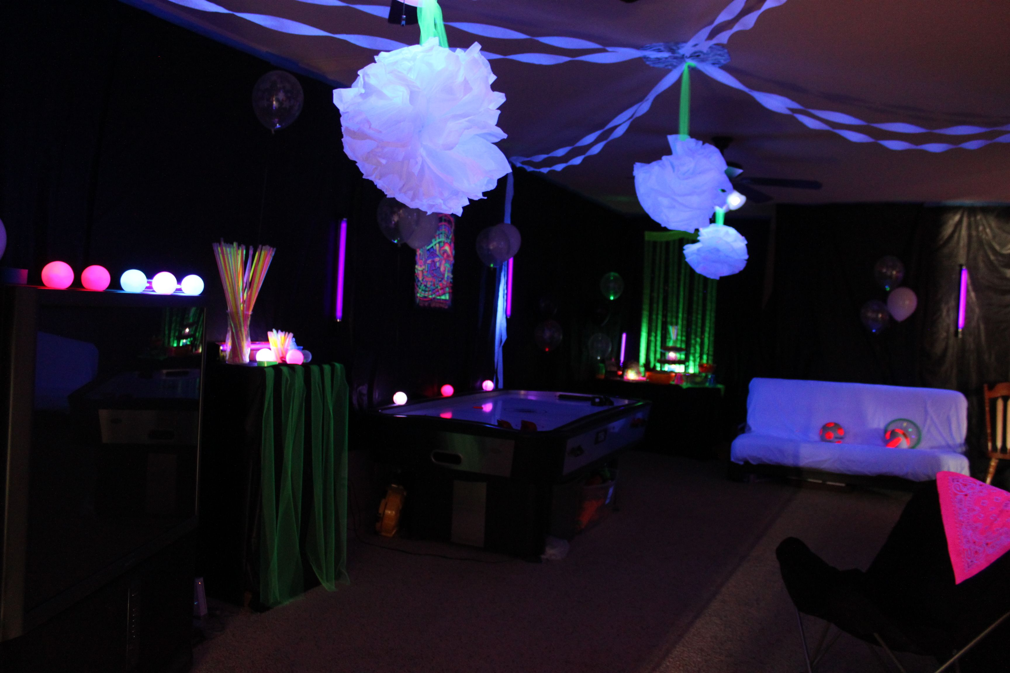 black light room. i covered the walls with plastic table cloths
