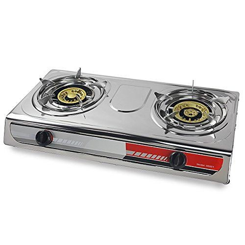 Eminentshop Table Top Stove Portable Propane Gas Stove Double Burner T Gate  Camping Stove **