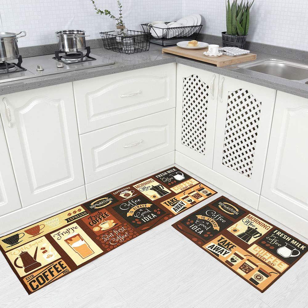 Carvapet 2 Piec Non Slip Kitchen Rug Tpr Anti Slip Backing Mat For Doorway Bathroom Runner Rug Set Coffee Design With Images Kitchen Rug Bathroom Runner Rug Kitchen Mat
