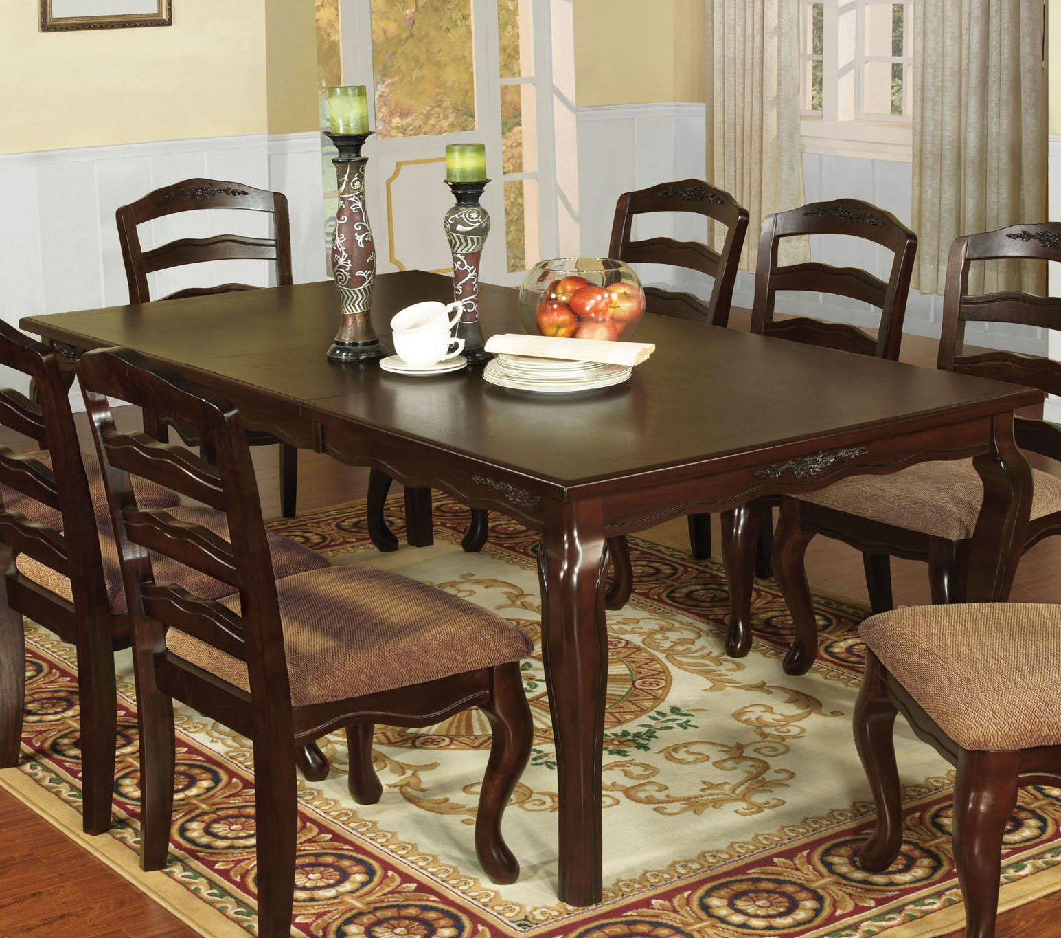 Furniture Of America Townsville Dark Walnut Wood Finish 78 Inch Dining Table Dining Table Dining Table Sizes Dining Table Chairs