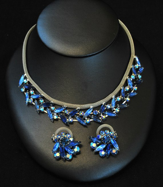 Vintage Jewelry Set Blue Rhinestone Fashion