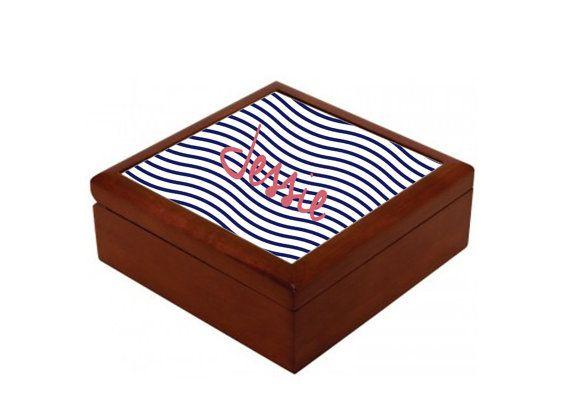 6 x 6 Oak Personalized Jewelry Box 12 DESIGNS by MissMollyGDesign, $45.00