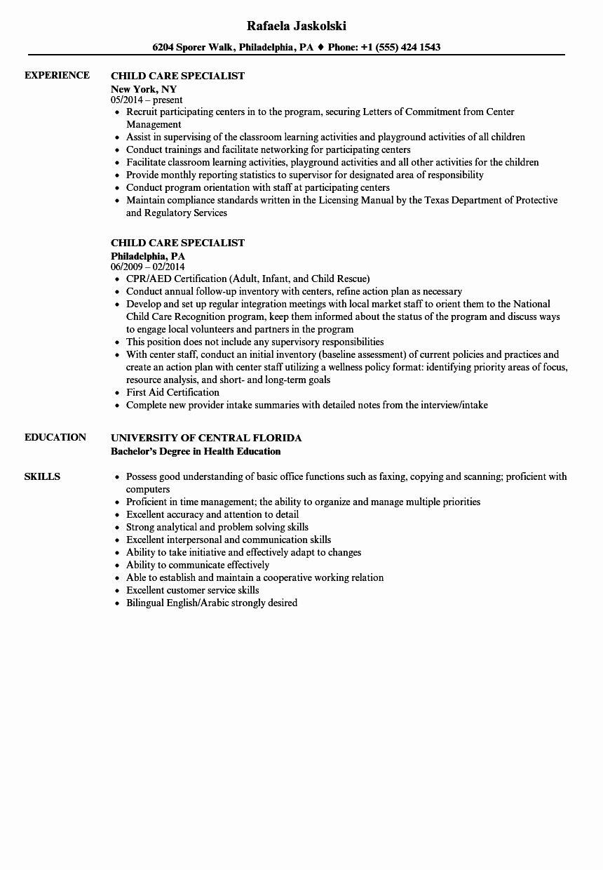 Child Care Job Description Resume Luxury Child Care Specialist Resume Samples