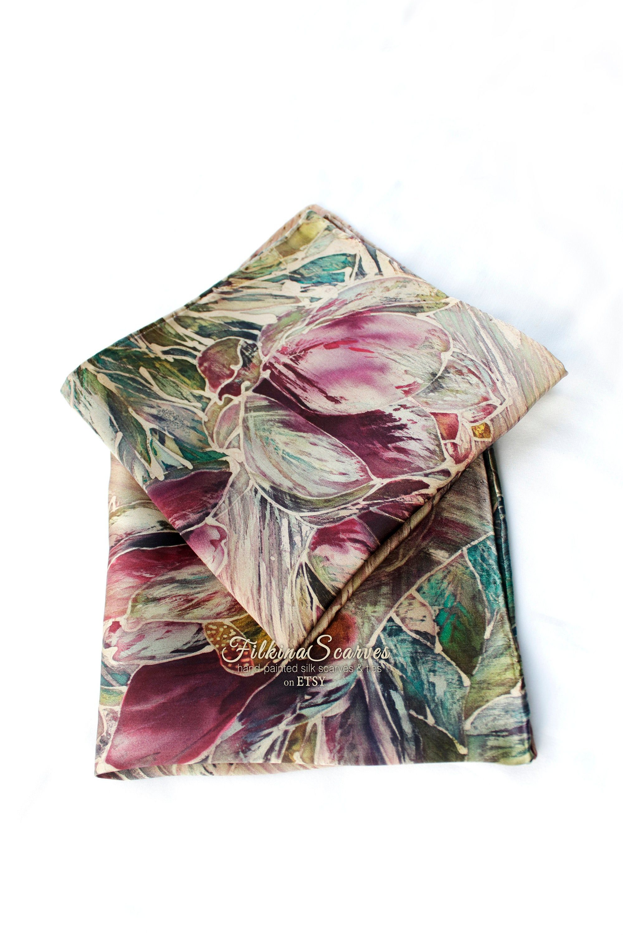 OOAK Wedding Men's Silk Pocket Square whit Lilies. HAND-PAINTED handkerchief. Groomsmen gift for him #pocketsquares