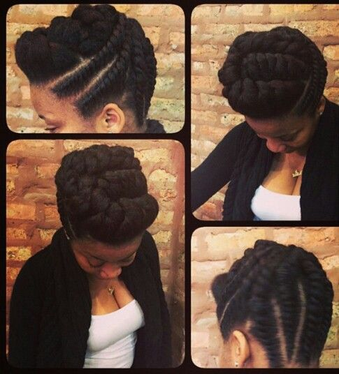 Natural Braids & Flat Twist Updo Styles To Try Thi
