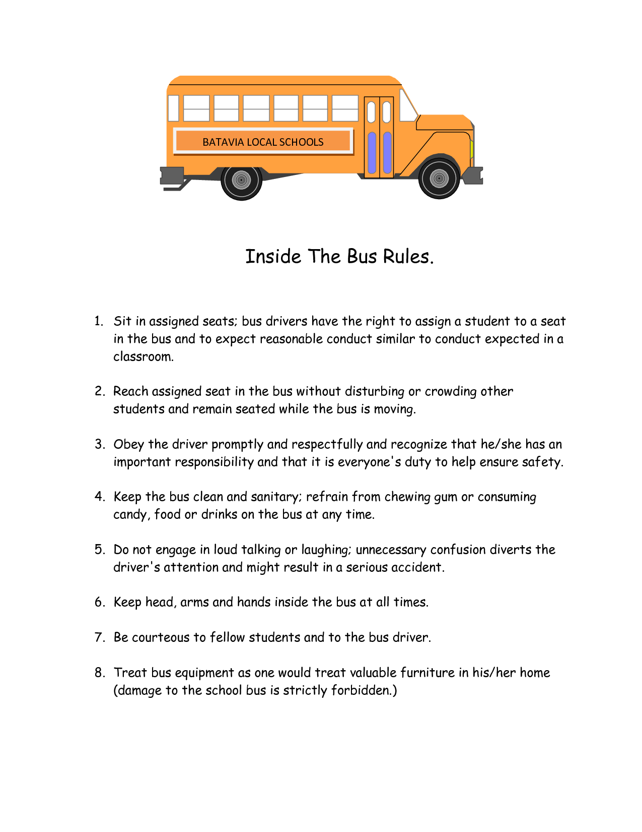 Printable School Bus Rules