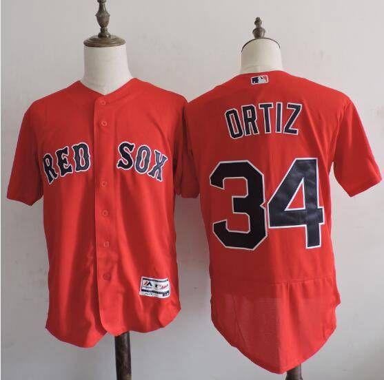mens boston red sox 34 david ortiz red 2016 flexbase majestic baseball jersey