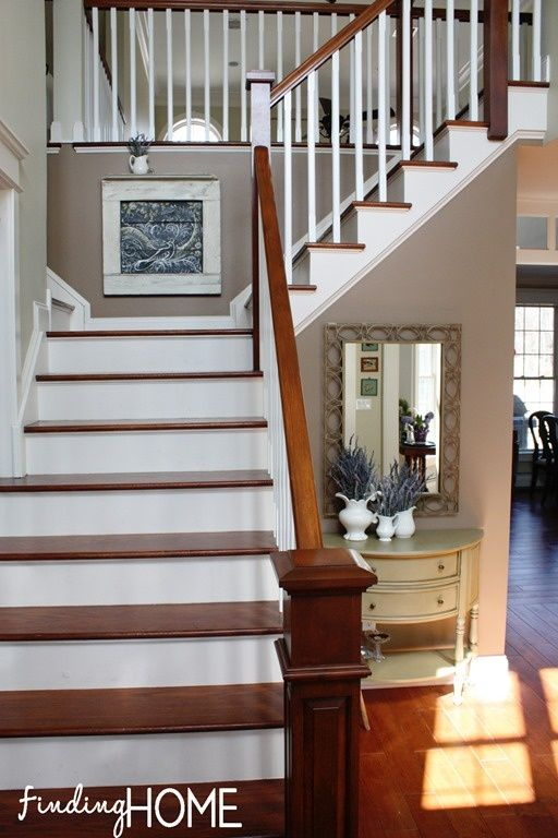 entryway white wall stairs | Entryway-Staircase-Renovation ...