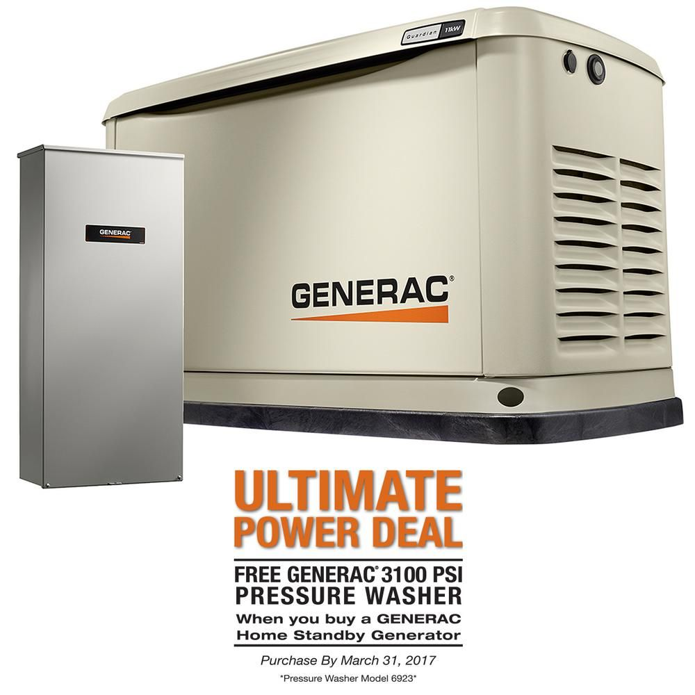 Generac Ng Air Cooled Standby Generator With 16 Circuit 100 Amp Automatic Transfer Switch