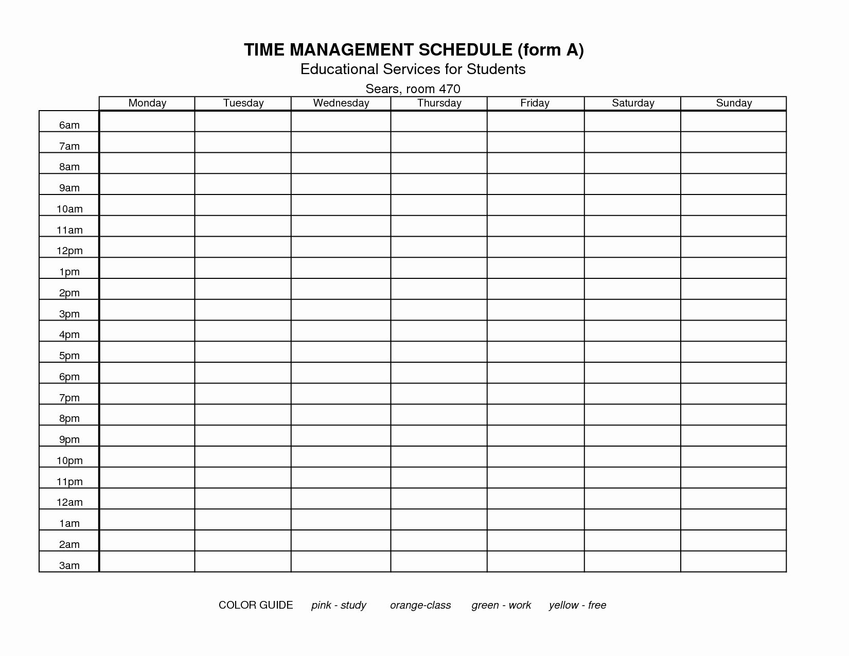Awesome Time Management Chart Template In