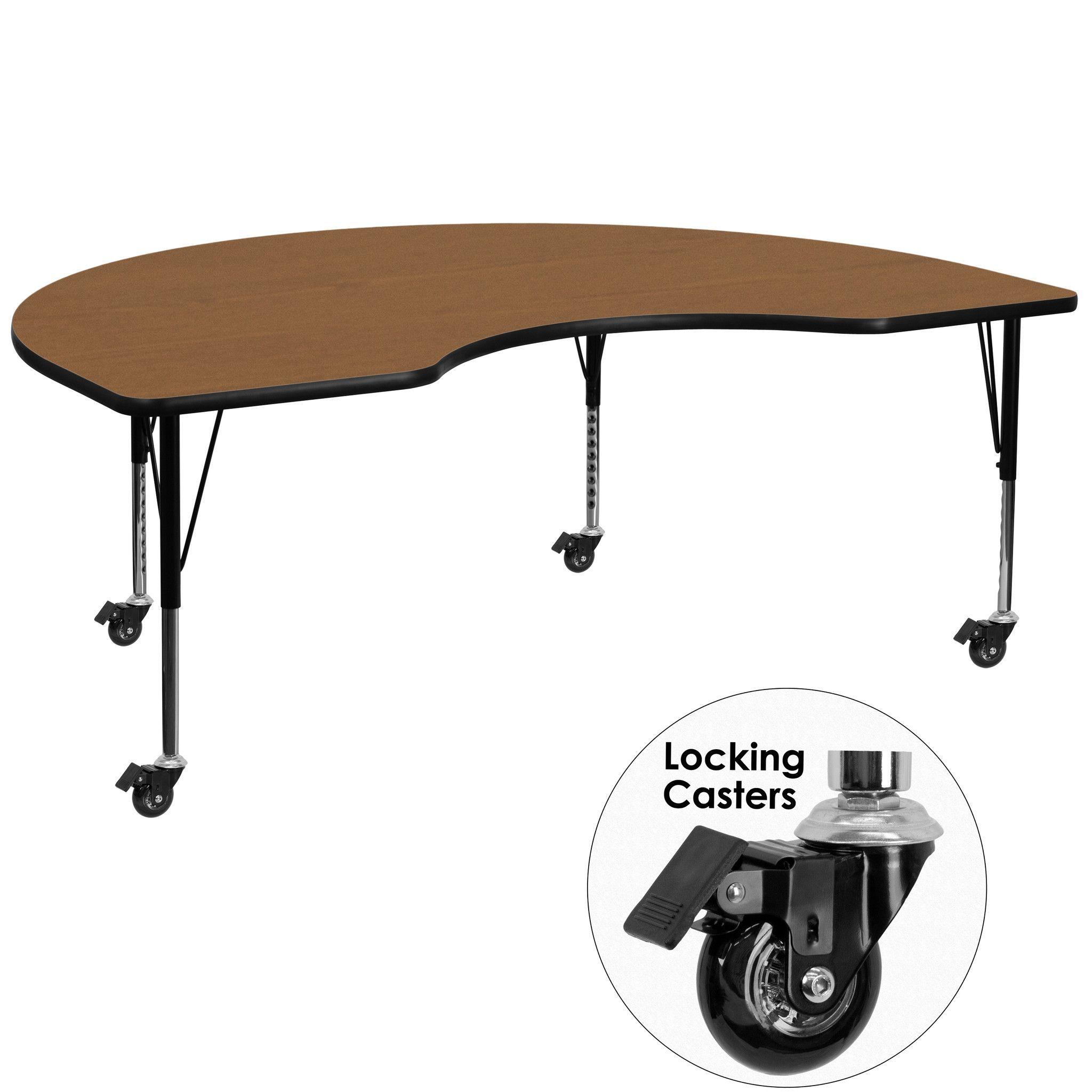 Oak preschool activity table XU-A4872-KIDNY-OAK-T-P-CAS-GG