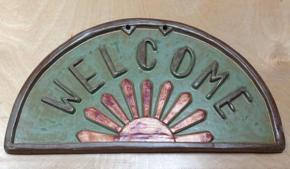 Art deco welcome sign wedding or birthday gift sunburst tile