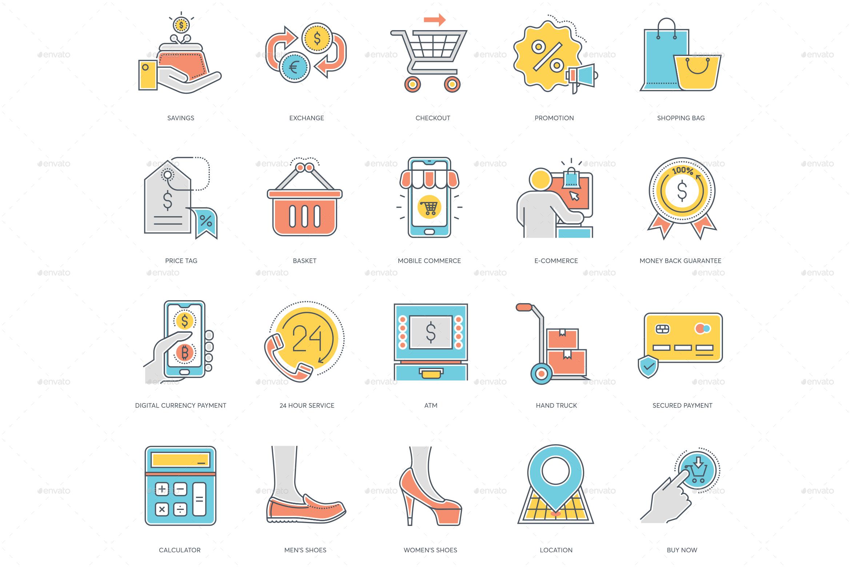 Online Shopping Icons Shop Icon Line Icon Custom Icons