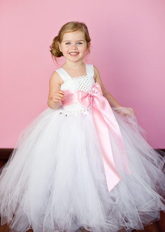 Pink Tutu Flower Girl Dresses | Flower Girl Tutu Dress in White w/ Light Pink Sash-peacock, couture ...