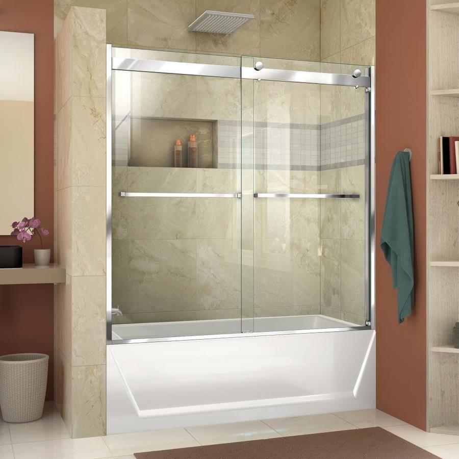 Dreamline Essence H 56 In To 60 In W Semi Frameless Bypass Sliding Polished Chrome Bathtub Door Lowes Com Bathtub Doors Tub Doors Frameless Bypass Shower Doors
