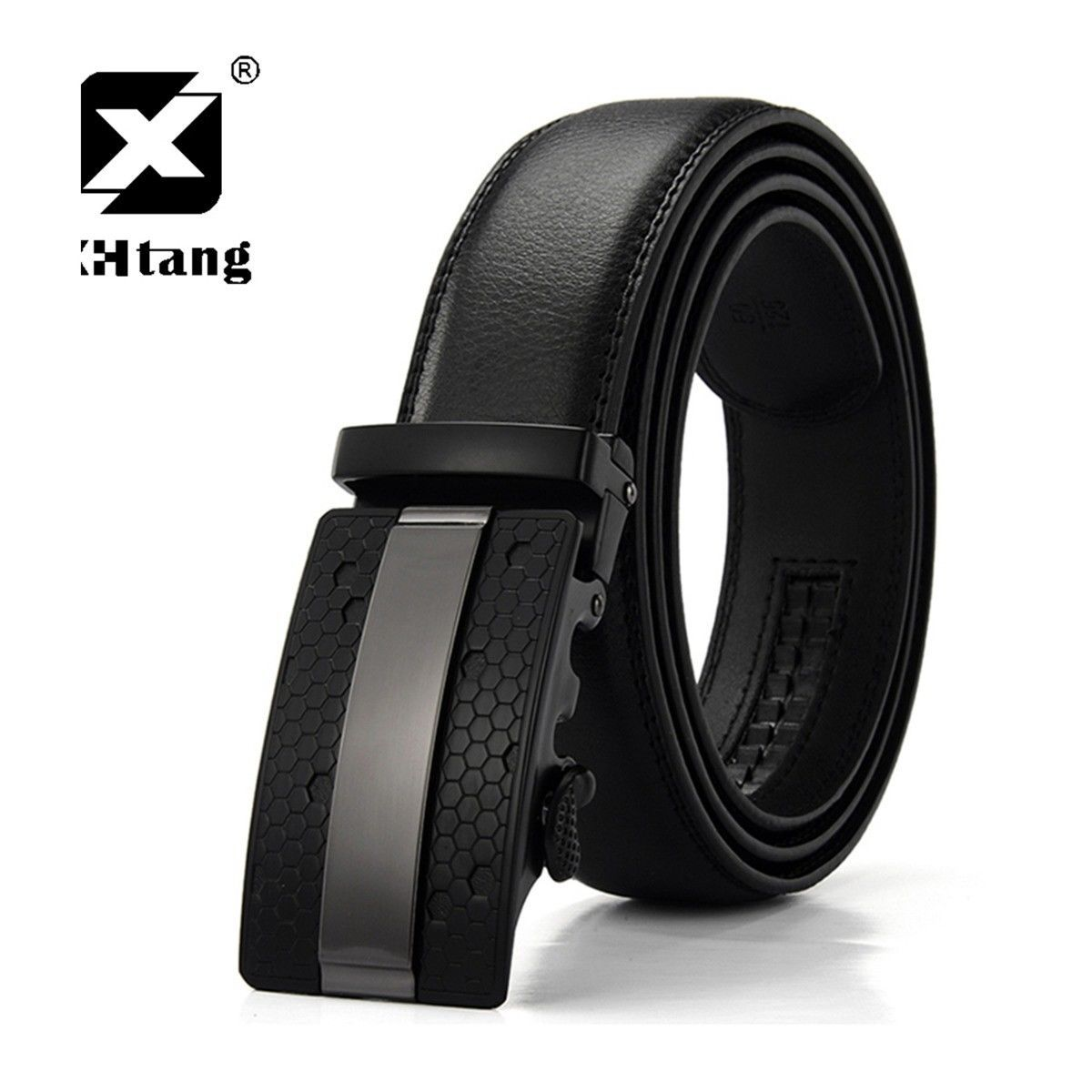 XHTang Fashion Men/'s Automatic Buckle Real Leather Ratchet Belt Waistband Jeans