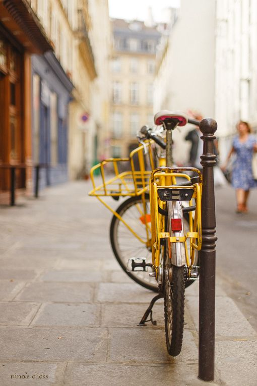 Yellow Bicycle Paris With Images Bike