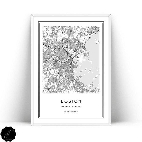 Boston Map Print Printable Map Of Boston Boston City Map Wall Art