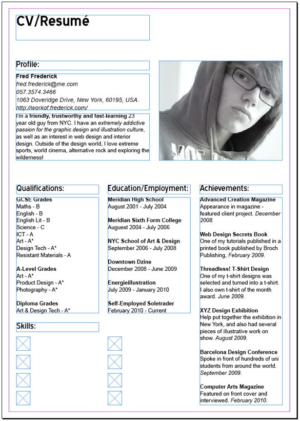Adobe InDesign Resume Photography, graphic design and such