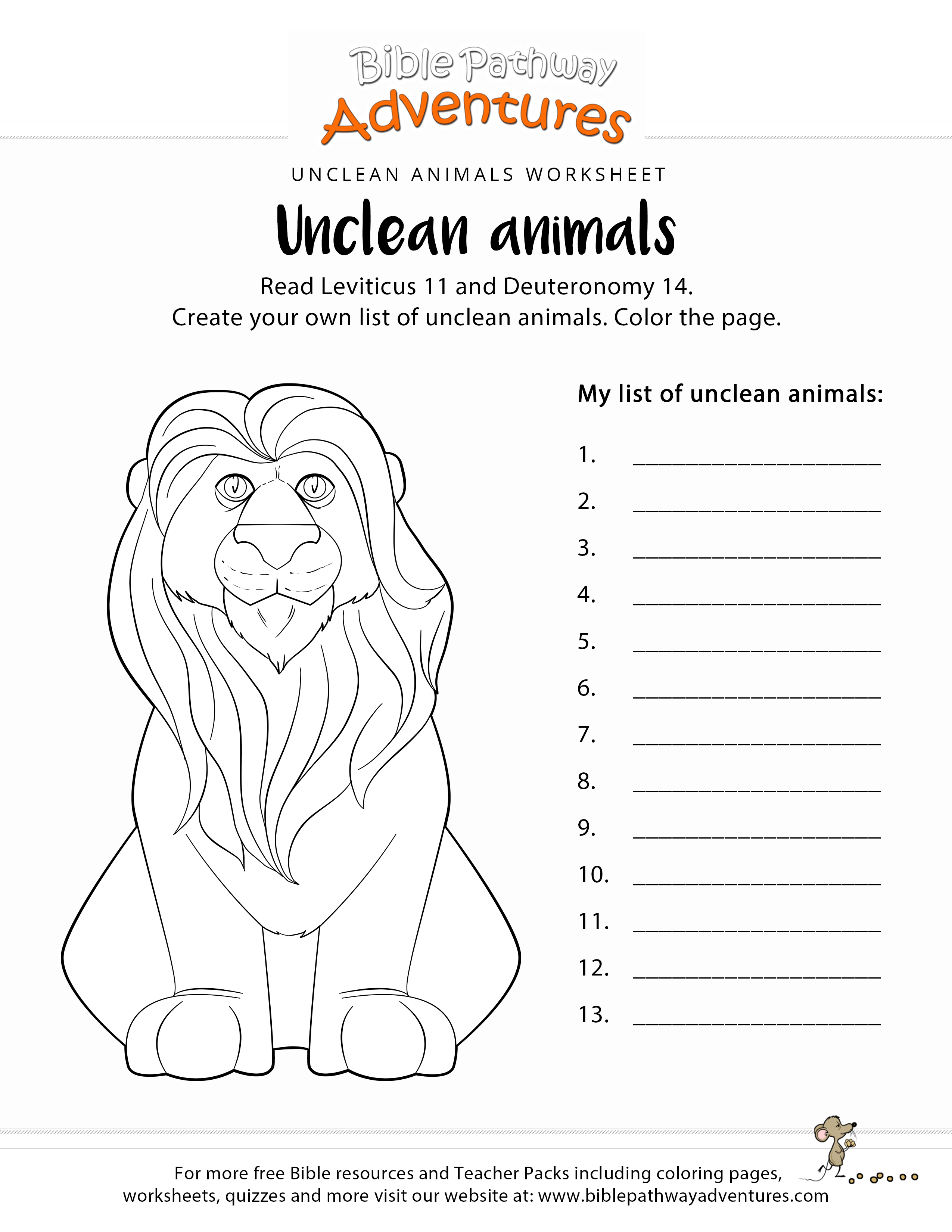 Unclean Animals Worksheet Coloring Page Printable Bible Activities Bible Coloring Pages Bible Activities